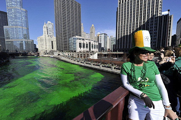 Chicago Celebrates St. Patricks Day with green river