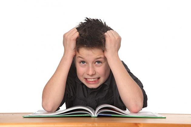Frustration hits kid doing homework