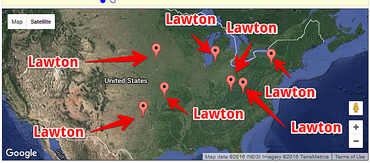 Cities Named Lawton: Google Maps